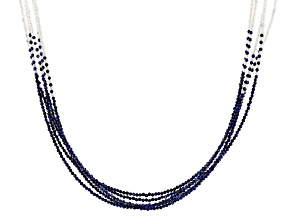 Black Spinel Rhodium Over Sterling Silver Beaded Necklace Approximately 114.00ctw