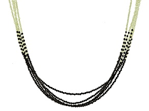 Black Spinel Rhodium Over Sterling Silver Beaded Necklace Approximately 125.00ctw