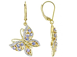 Blue Tanzanite 18k Yellow Gold Over Sterling Silver Butterfly Earrings 1.04ctw