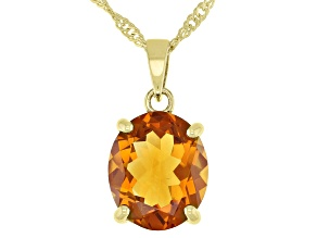 Orange Madeira Citrine 18k Yellow Gold Over Sterling Silver Pendant With Chain 3.50ctw