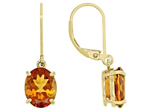 Orange Madeira Citrine 18k Yellow Gold Over Sterling Silver Earrings 3.75ctw