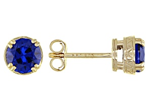 Blue Lab Created Spinel 18k Yellow Gold Over Sterling Silver Earrings 1.50ctw
