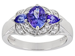 Blue Tanzanite Rhodium Over Sterling Silver Ring 1.39ctw