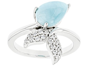 Blue Larimar Rhodium Over Sterling Silver Mermaid Tail Ring .30ctw
