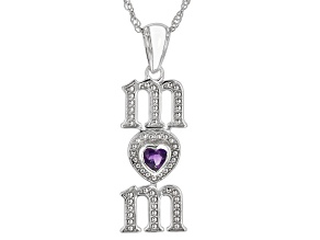 Purple Amethyst Rhodium Over Stelring Silver Mom Pendant With Chain 0.34ctw