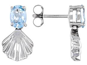Sky Blue Topaz Rhodium Over Sterling Silver Seashell Earrings 1.70ctw