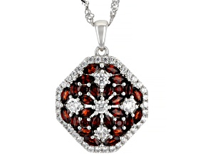 Red Vermelho Garnet Rhodium Over Sterling Silver Pendant With Chain 3.46ctw