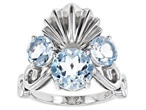 Sky Blue Topaz Rhodium Over Sterling Silver Seashell Ring 3.73ctw