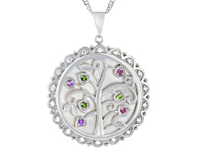 White Mother-Of-Pearl Rhodium Over Sterling Silver Tree Of Lift Pendant 0.33ctw