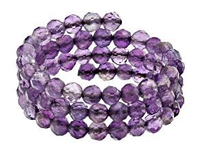 Purple Amethyst Stainless Steel Adjustable Wrap Ring