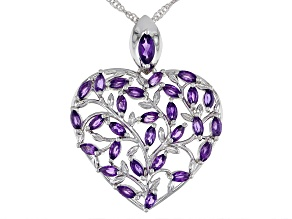 Purple Amethyst Rhodium Over Sterling Silver Heart Shape Pendant With Chain 2.09ctw