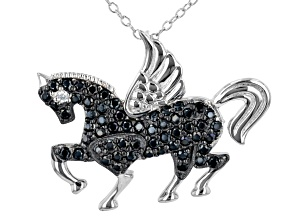 Black Spinel Rhodium Over Sterling Silver Unicorn Pendant With Chain 0.85ctw