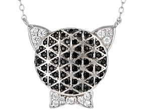 Black Spinel Rhodium Over Sterling Silver Cat Necklace. 0.70ctw