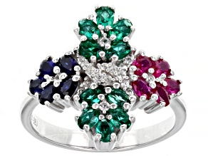 Red Lab Created Ruby Rhodium Over Silver Cross Ring 1.32ctw