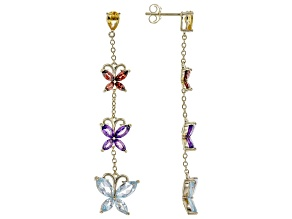 Multi Gemstone 18k Yellow Gold Over Sterling Silver Butterfly Dangle Earrings 5.35ctw