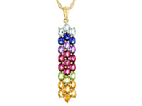 Multi-Gemstone 18k Yellow Gold Over Sterling Silver Pendant With Chain 4.33ctw