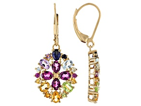 Multi-Gemstone 18k Yellow Gold Over Sterling Silver Dangle Earrings 3.99ctw