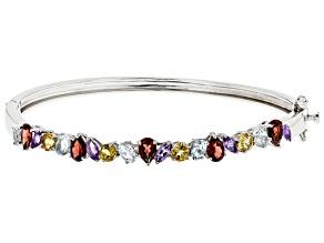 Multi Gemstone Rhodium Over Sterling Silver Bangle Bracelet 4.71ctw