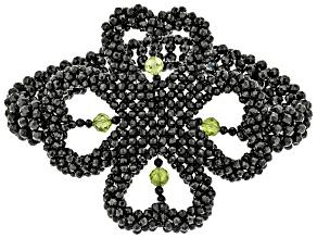 Black Spinel Rhodium Over Sterling Silver Beaded Stretch Bracelet. 3ctw