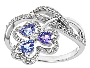 Blue Tanzanite Rhodium Over Sterling Silver Ring 1.20ctw