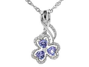 Blue Tanzanite Rhodium Over Silver Pendant With Chain 0.91ctw