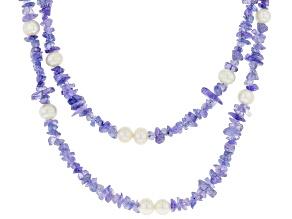 Blue Tanzanite Rhodium Over Silver Necklace