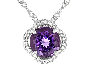 Purple Amethyst Rhodium Over Sterling Silver Pendant With Chain 1.66ctw
