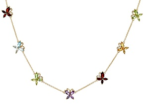 Sky Blue Topaz 18k Yellow Gold Over Sterling Silver Butterfly Necklace 4.34ctw