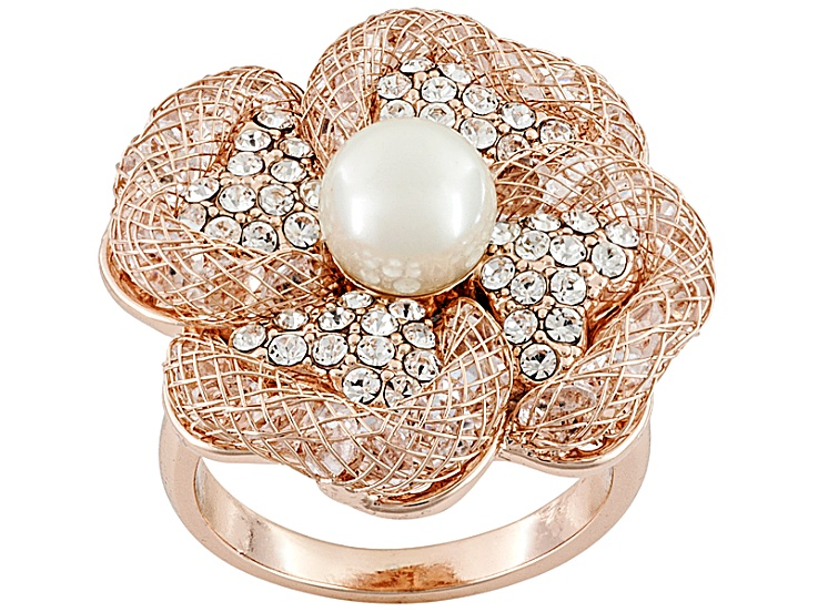 5feaf5ae9 Pearl simulant and crystal rose tone flower ring - MFK142R | JTV.com