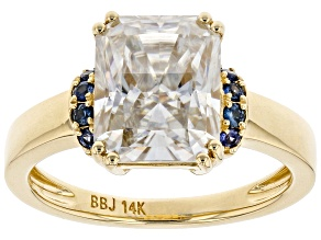 Moissanite and blue sapphire 14k yellow gold ring 3.90ct DEW.