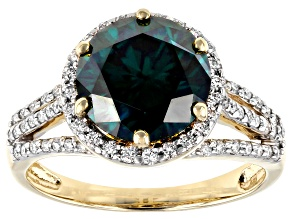 Green And White Moissanite 10k Yellow Gold Ring 3.82ctw D.E.W
