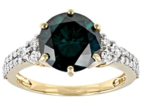 Green And White Moissanite 10k Yellow Gold Ring 3.56ctw D.E.W