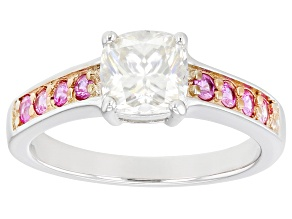 Moissanite and pink sapphire platineve ring 1.30ct DEW.