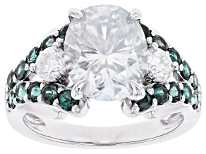 Moissanite and lab created alexandrite ring 3.32ctw DEW.
