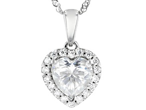 Moissanite 10k white gold heart pendant 1.38ctw DEW.