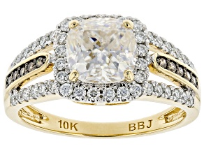 Moissanite and champagne diamond 10k yellow gold ring 2.14ctw DEW