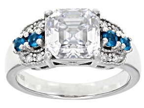 Moissanite and neon apatite platineve ring 3.04ctw DEW.