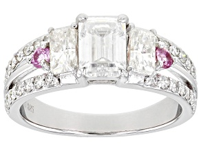 Moissanite and pink sapphire platineve ring 1.95ctw DEW