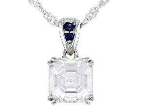 Moissanite and blue sapphire platineve pendant 2.96ct DEW.
