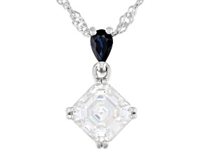 Moissanite and blue sapphire platineve pendant 1.85ct DEW.