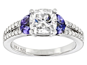 Moissanite and tanzanite platineve engagement ring 1.94ctw DEW
