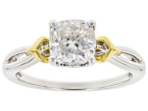 Moissanite platinve and 14k yellow gold over sterling silver engagement ring 1.70ct