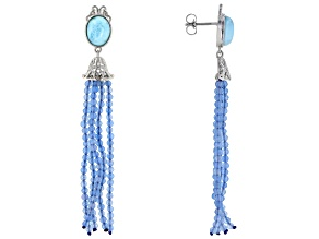 Blue Larimar Rhodium Over Silver Tassel Earrings 17.50ctw