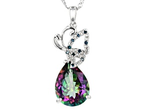 Green Mystic Fire(R) topaz rhodium over silver pendant with chain 9.32ctw