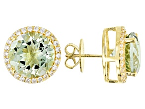 Green prasiolite 18k gold over silver earrings 11.03ctw