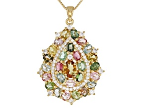 Multi-tourmaline 18k gold over silver pendant with chain 4.81ctw