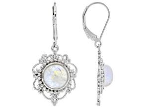 White Rainbow Moonstone Rhodium Over Silver Earrings