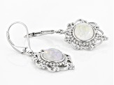 White Rainbow Moonstone Rhodium Over Silver Earrings