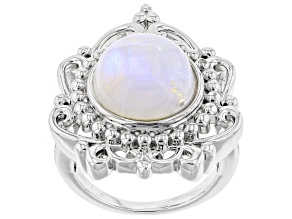 White Rainbow Moonstone Rhodium Over Silver Ring