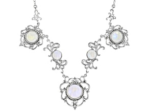White Rainbow Moonstone Rhodium Over Silver Necklace